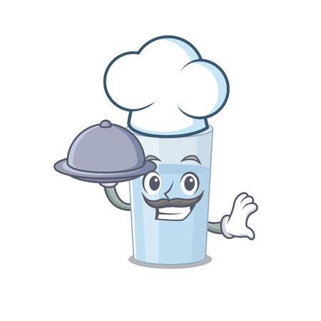 mascot design of glass of water chef serving food on tray