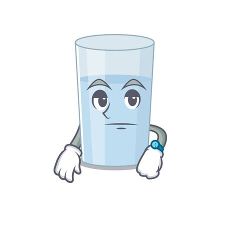 Mascot design style of glass of water with waiting gesture