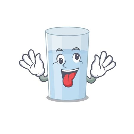 A mascot design of glass of water having a funny crazy face Vettoriali