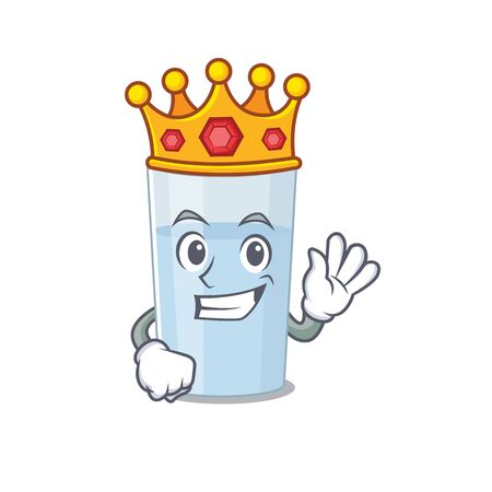 A Wise King of glass of water mascot design style with gold crown. Vector illustration