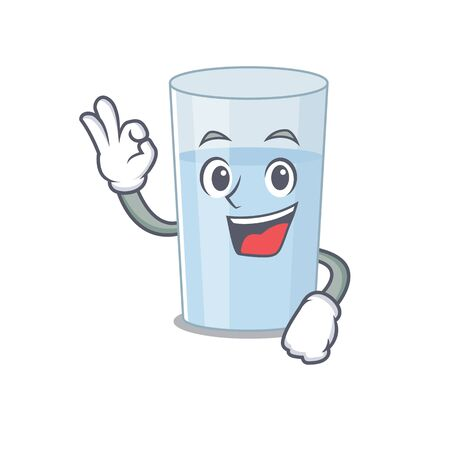 Glass of water mascot design style showing Okay gesture finger Vectores