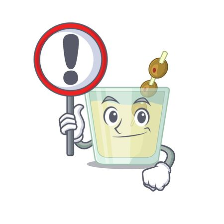 A cartoon icon of martini cocktail with a exclamation sign board Illustration