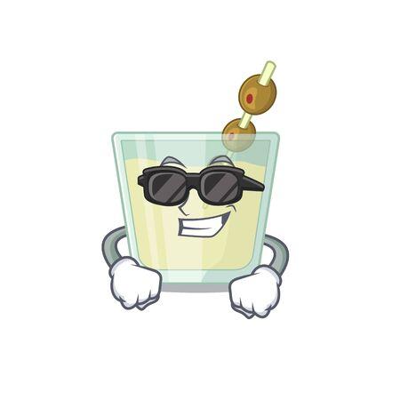 cartoon character of martini cocktail wearing classy black glasses. Vector illustration Illustration