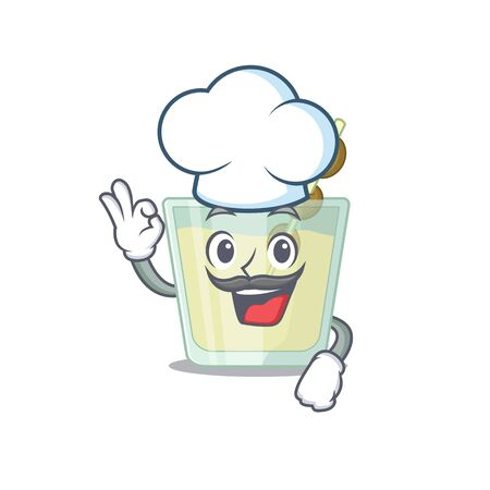 Talented martini cocktail chef cartoon drawing wearing chef hat. Vector illustration