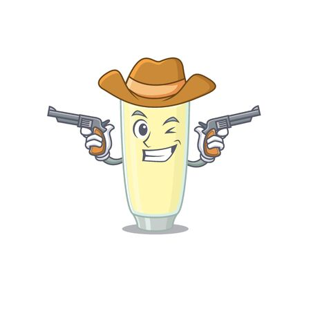 Cartoon character cowboy of screaming cocktail with guns