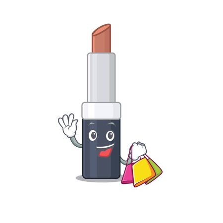 wealthy brown lipstick cartoon character with shopping bags