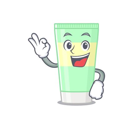 Cleansing foam mascot design style showing Okay gesture finger