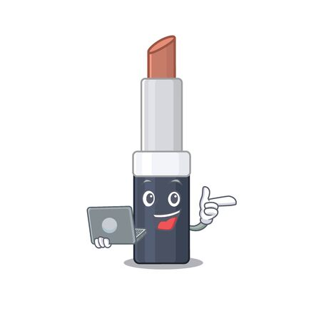 Smart cartoon character of brown lipstick studying at home with a laptop. Vector illustration Illustration