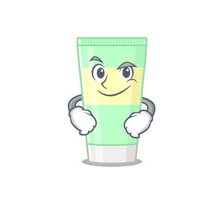 A cute arrogant caricature design of cleansing foam having confident gesture