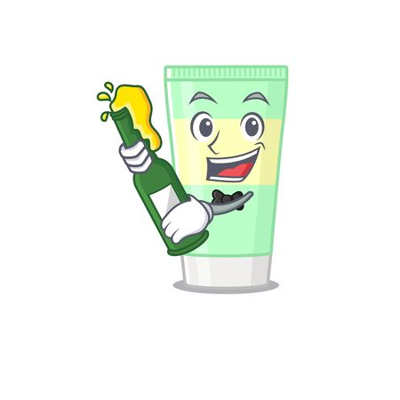 caricature design concept of cleansing foam cheers with bottle of beer