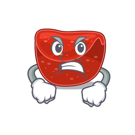 A cartoon picture of meatloaf showing an angry face. Vector illustration