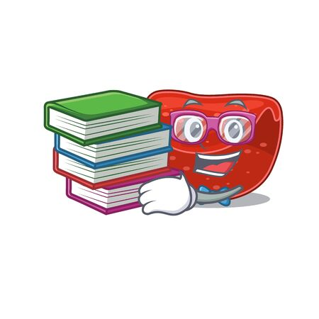 A diligent student in meatloaf mascot design concept read many books. Vector illustration