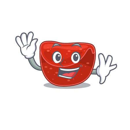 A charming meatloaf mascot design style smiling and waving hand. Vector illustration