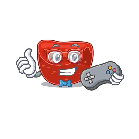 Mascot design style of meatloaf gamer playing with controller. Vector illustration