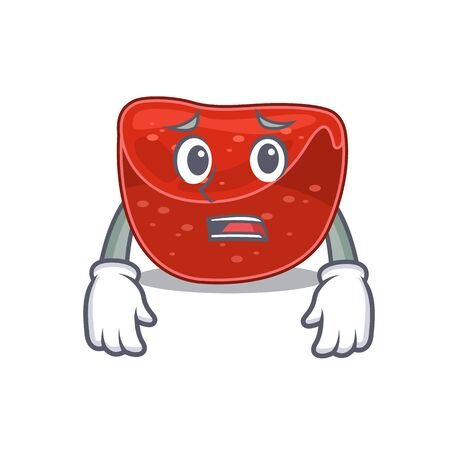 Cartoon design style of meatloaf having worried face. Vector illustration