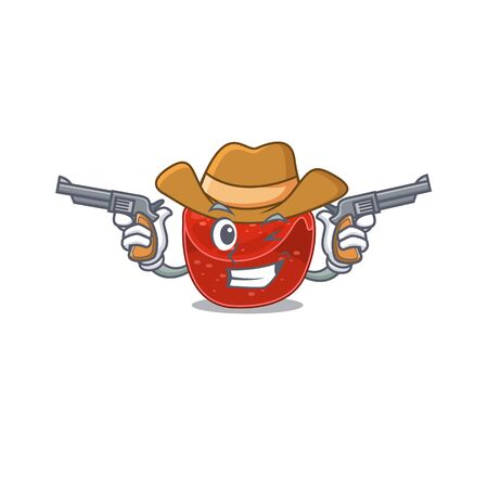 Cartoon character cowboy of meatloaf with guns. Vector illustration