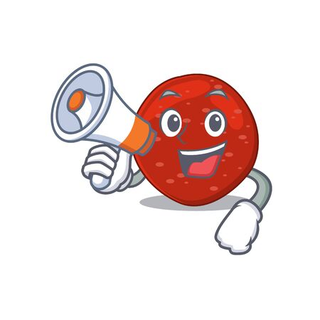 Mascot design of peperoni announcing new products on a megaphone. Vector illustration