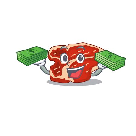 A wealthy T-bone cartoon character having much money on hands. Vector illustration