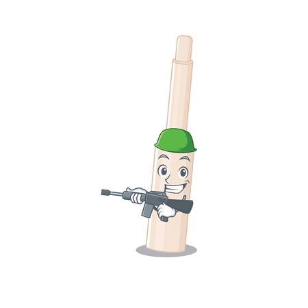 A cartoon picture of Army concealer stick holding machine gun