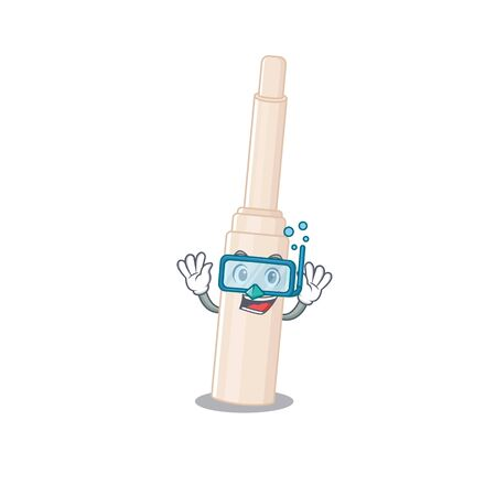 Concealer stick mascot design swims with diving glasses