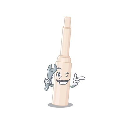 A caricature picture of concealer stick working as a mechanic