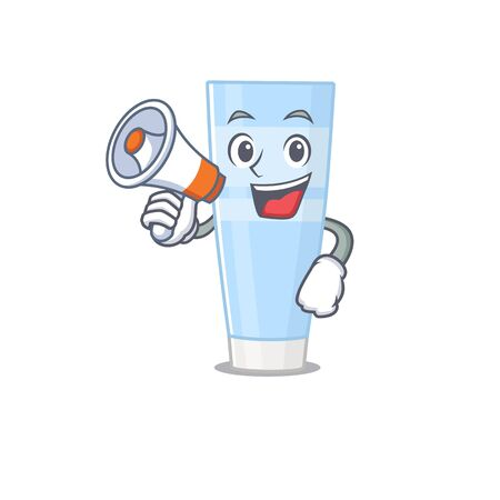Mascot design of eye cream announcing new products on a megaphone