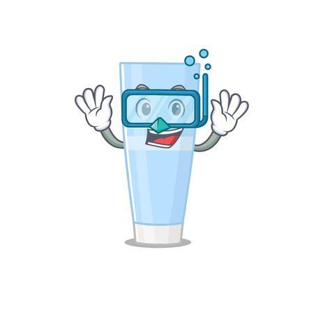 Eye cream mascot design swims with diving glasses