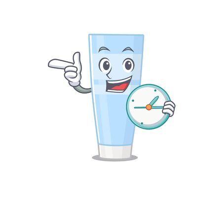 mascot design style of eye cream standing with holding a clock