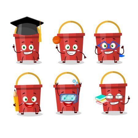 School student of sand bucket cartoon character with various expressions