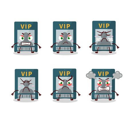Vip card cartoon character with various angry expressions