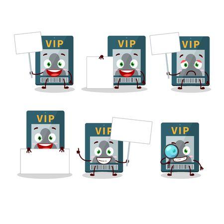 Vip card cartoon character bring information board Illustration