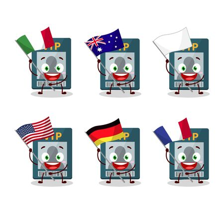 Vip card cartoon character bring the flags of various countries