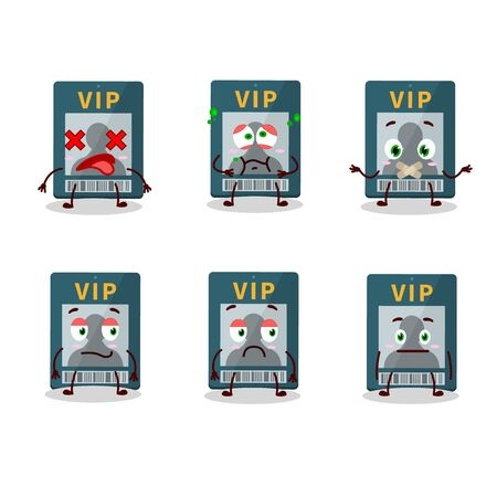 Vip card cartoon character with nope expression