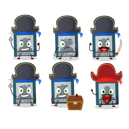 Cartoon character of vip card with various pirates emoticons