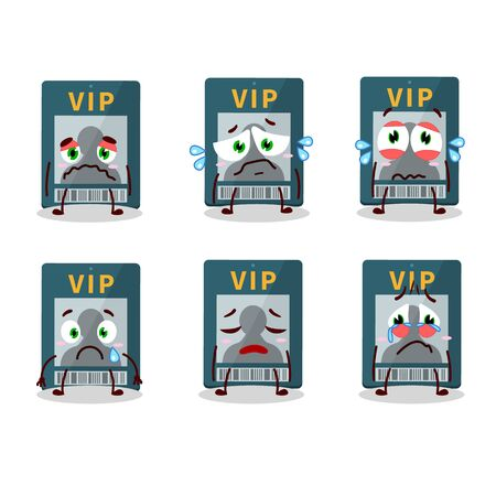 Vip card cartoon character with sad expression Illustration