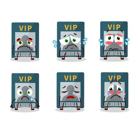 Vip card cartoon character with sad expression Illustration