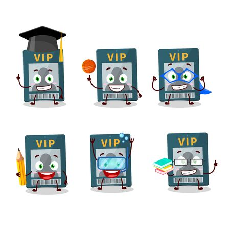 School student of vip card cartoon character with various expressions