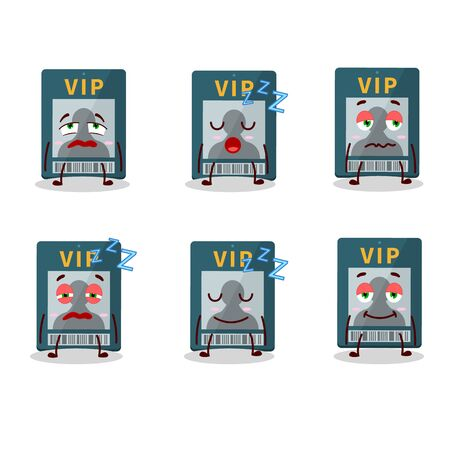 Cartoon character of vip card with sleepy expression
