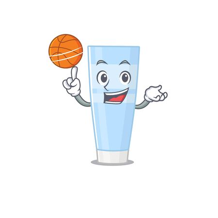 Sporty cartoon mascot design of eye cream with basketball
