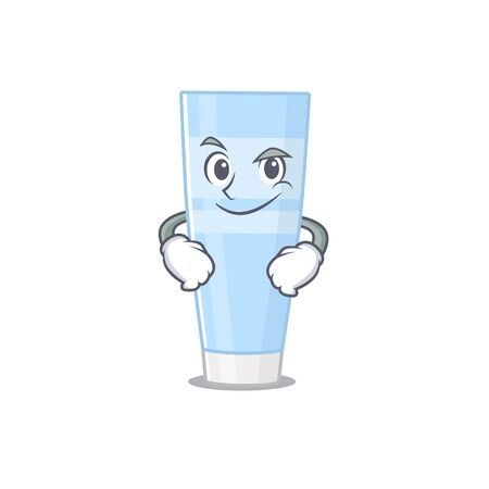 A cute arrogant caricature design of eye cream having confident gesture