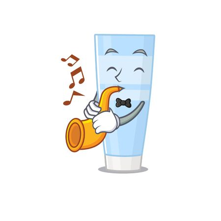 Eye cream musician of cartoon design playing a trumpet. Vector illustration