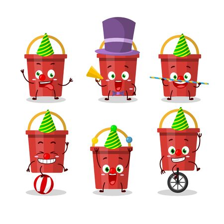 Cartoon character of sand bucket with various circus shows. Vector illustration