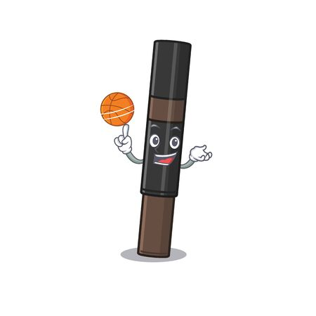 Sporty cartoon mascot design of eyebrow pencil with basketball  イラスト・ベクター素材