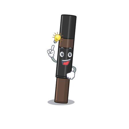 Mascot character of smart eyebrow pencil has an idea gesture