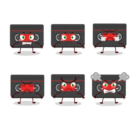 Retro cassette cartoon character with various angry expressions