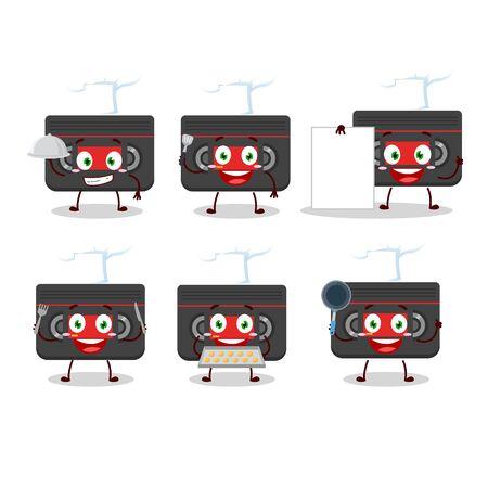 Cartoon character of retro cassette with various chef emoticons Ilustração