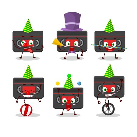 Cartoon character of retro cassette with various circus shows