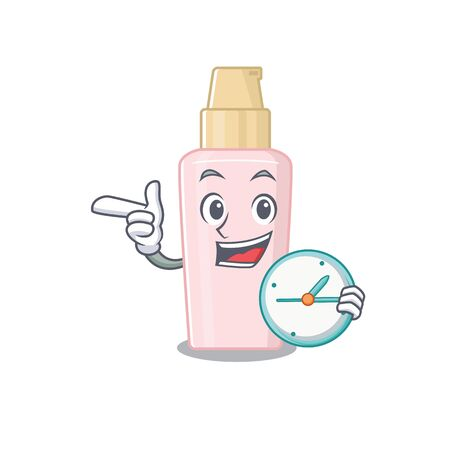 mascot design style of foundation standing with holding a clock