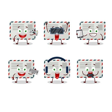 Envelope cartoon character are playing games with various cute emoticons 向量圖像