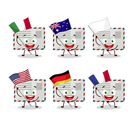 Envelope cartoon character bring the flags of various countries Vectores